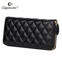 Wholesale New sheep leather wallet for women Fashion and Hot sell Clutch bag with Thread sliod color