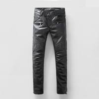 Wholesale BALMAIN BLACK LEATHER GEOMETRIC EMBROIDERY MOTO BIKER JEANS Mens Skinny Fit Jeans Fashion Jeans With Zipper