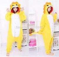 Cheap Wholesale-free ppFree pp Golden Lion flannel pajamas cartoon animal costumes onesie adult women cosplay ostumes instylesinstyles