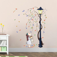 Wholesale Little Girl with Kitten under the Road Lamp Wall Stickers Tree Vines Rounding Road Lamp Wall Art Mural Poster Living Room Bedroom Wallpaper