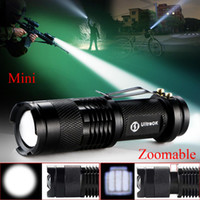 Wholesale High quality Zoomable Adjustable Focus CREE Q5 LED Lumens Bright Mini Flashlight Torch penlight For AA