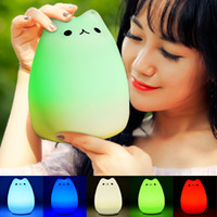 bedroom touch table lamps - USB Power Bank LED Night Light Rainbow Colorful Silicone Novelty Night Light Adorable Cat LED Bedroom Table Lava Lamps
