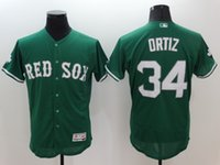 Wholesale New Flexbase Baseball Jerseys Red Sox Ortiz Jersey Green Color Blue White Gray Size Mix Order All Polyester Flexbase Jersey