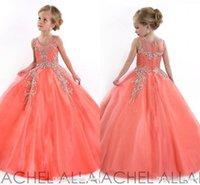 2016 Coral Nuevas niñas desfile de vestidos de princesa de tul Cristal Jewel Sheer y acc niños vestidos de las muchachas de flor vestido de cumpleaños DL751