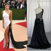 Wholesale 2016 met gala celebrity red carpet dresses one shoulder split white and black evening prom gowns