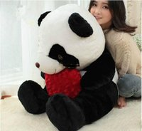baby giant pandas - 47 cm Super Funny Huge Soft Stuffed Fat Lovely Heart Giant Panda Plush Toy Nice Gift For Babies