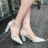 Wholesale 2016 spring new edition pointed spell color thick heel rivet two ring strap high heeled women s singles shoes fashion sandals now in Europe