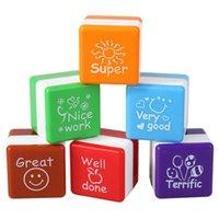 Wholesale 6pcs set Teachers Stampers Self Inking Praise Reward Stamps Motivation Sticker School Cartoon Kids Stamp DIY Diary Carved Gift