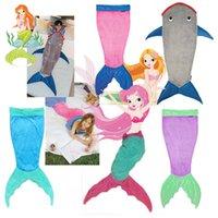 Cheap Mermaid Blanket Towel Envelopes For 5-12T Kids Soft Animal Sleeping Bag Pajamas Overalls Children Quilt Velvet Shark Blanket