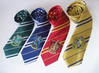 badge book - Fashion Harry Potter style house badge ties fancy dress Cosplay film peplica Book Day silk Necktie colors party Chiristmas festive supplies