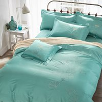 aqua satin sheets - embroidered egyptian Cotton satin Bedding set king queen size doona duvet cover flat sheet pillows case bed linen set aqua