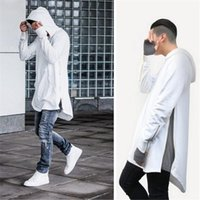 arc standard - British Style Hi Street Mens Hooded Hip Hop Sweatshirts With Gold Side Zipper Fashion Men Extended Hoodie Arc Cut Long Hoodies