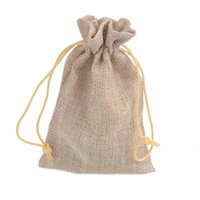 Wholesale Fashion x14 cm wedding linen flax bag drawstring pouch for fashion packing party favor holders