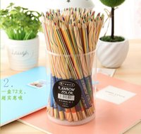 Wholesale DIY Cute Kawaii Wooden Colored Pencil Wood Rainbow Color Pencil for Kid School Graffiti Drawing Painting
