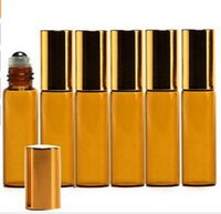balm essential - 5ml Amber Glass Roller Bottles With Metal glass Ball for Essential Oil Aromatherapy Perfumes and Lip Balms by DHL