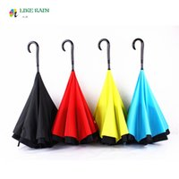 Wholesale 2016 New Creative Patent Long Handled Umbrella Rain Women Brand Paraguas Double Large Reverse Windproof Umbrellas Novelty Items