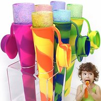 Wholesale 6pcs set Colorful Silicone Ice Pop Maker Tube Tray Popsicle Mold Frozen Ice Cream Yogurt Mould with Lids Kitchen DIY Tools Children Gift