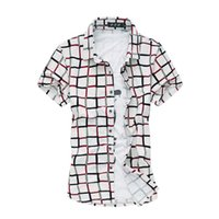 Wholesale Red Plaid Mens Shirt Mercerized Cotton Mens Dress Shirts Men Clothing Social Casual Shirt Male Brand Chemise Homme XL