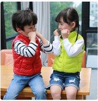 acrylic hood - Fashion Children Down Waistcoat Ultra light Sport Down Vest White Duck Down Girl and Boy Outwear Kids Coats Unisex Stand Collar