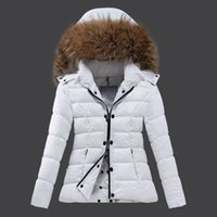 Wholesale Winter New Women goose down jackets thicking hooded down real fur parkas white duck down Double zipper coat