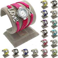 Relojes de la pulsera de la armadura de los relojes del infinito Relojes de la señora Wrap Relojes de la pulsera del amor del corazón doble del amor Relojes de cuarzo de las mujeres mezclan color b351