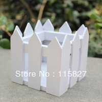 Wholesale 2pcs Square White Color Wooden Fence Artificial Flower Pot Wooden Vase Flower Holder Home or garden Decoration cm