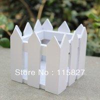 Wholesale 2pcs Square White Color Wooden Fence Artificial Flower Pot Wooden Vase Flower Holder Home or garden Decoration cm