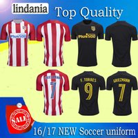Wholesale 2016 Atletico Madrid Home Away Jersey GODIN KOKE GRIEZMANN F TORRES best quality shirt