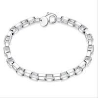 Long et Large Bracelet en treillis Argent Chain Link Bracelet Placage Argent 925 Infinity Bracelets Bracelets Accessoires Bijoux
