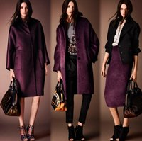 achat en gros de tissu rayé violet-Deux pourpre européens américains haut de gamme mode élégante femmes Stripe tissus de laine pour vêtements Overcoat Cashmere tissu laine jupe B153
