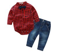 bebe factory - baby clothes factory baby Rompers Bebe Long Sleeve Cotton Baby Costume red plaid rompers jeans Romper Newborn Baby Clothes