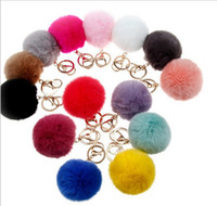 Wholesale lovely CM Rabbit fur ball plush key chain round ball fluffy toy keychain hairy car key ring Bag Pendant car keychain christmas gifts new