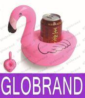 Wholesale Car Coasters Wholesale - Inflatable Flamingo Coasters Pool Flamingo Floating Bar Coasters Floatation Devices Drink Holder Flamingo Floats FREE shipping GLO809