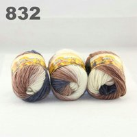 Wholesale colorful hand knitted wool line segment dyed coarse lines fancy knitting hats scarves thick line Dark Bronze White Cool Grey