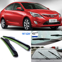 Wholesale 2pcs quot quot front windscreen windshield wiper blades Soft Rubber WindShield Wiper Blade For Hyundai Verna