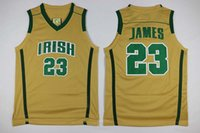 lebron james jersey - Lebron James Irish High School jersey white golden green all name number sitched