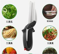 Wholesale Hot Item in Kitchen Smart Scissors Knife Set With Mini Cutting Board Clever Cutter high quality fast shipping