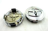 achat en gros de emblème prius-4pcs / set ABS Chrome 57MM Toyota Wheel Hub Caps Centre Wheel Caps Couvre Emblem Pour Toyota Yariz 07-12 et 01-09 Prius