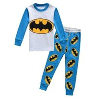 Wholesale hot Kids Pajama Sets Clothes boys girls sleepwear pyjamas Spider Man Batman superman t shirt pants children