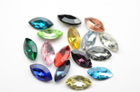 Wholesale 100 mm x mm Navette Colour Glass Faceted DIY Glass Jewels