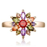 Wholesale 18K Rose Gold Plated Finger Ring for Women with AAA Multicolor Cubic Zircon Wedding Berloque