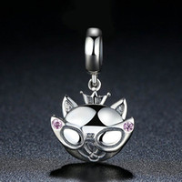 Wholesale Real Sterling Silver Charm Beads Lovely Kitty Catwoman with Pink CZ Diamond fit Pandora Bracelets Original Design DIY Jewelry C038
