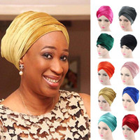 acrylic tube caps - NEW women Luxury pleated velvet Turban hijab Head Wrap Extra Long tube indian Headwrap Scarf Tie