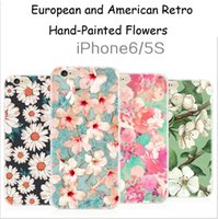 beautiful samples - Beautiful Retro Hand Painting Flower Cover Cases Ultra thin TPU waterproof Protector Mobile Phone Shell For iphone S S Plus Send samples