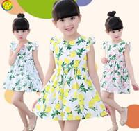 Cheap baby girl lemon dress fruit dress girl ruffle sleeveless dress girls princess dress summer hot sell baby cute