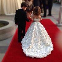 Mano llena hecha flores diseñador flor vestidos de niña para las correas de la boda piso de la longitud de los cabritos desfile vestidos princesa vestido de bola