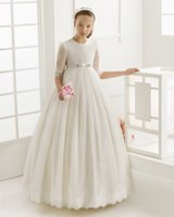 Wholesale 2016 Summer Princess Flower Girl Dress for Child First Communion Clothes Vintage White Party Tutu Dresses Wedding girl Pageant Dresses
