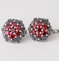 Wholesale Jimei fine silver S925 silver inlaid garnet zircon women exquisite flower hexagon studs earrings