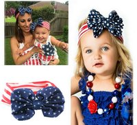 Wholesale 2016 new design american flag headband knotted cotton baby headbands with hair bow ladies headbands sports headbands for girls