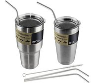 Wholesale Hot sales Set Stainless Steel Straws and Cleaning Brushes for Yeti Rambler RTIC Drinks Tumbler Cup Brush Drinking Straws bend
